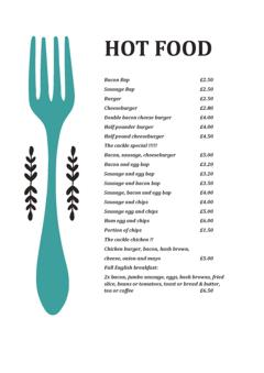 Cackle Hill Lakes Hot Food Menu